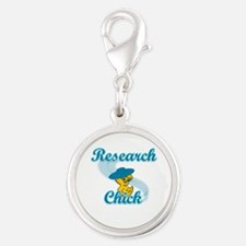 Research Chick #3 Silver Round Charm