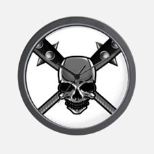 SkullCrossbats copy Wall Clock