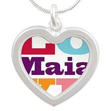 I Love Maia Silver Heart Necklace