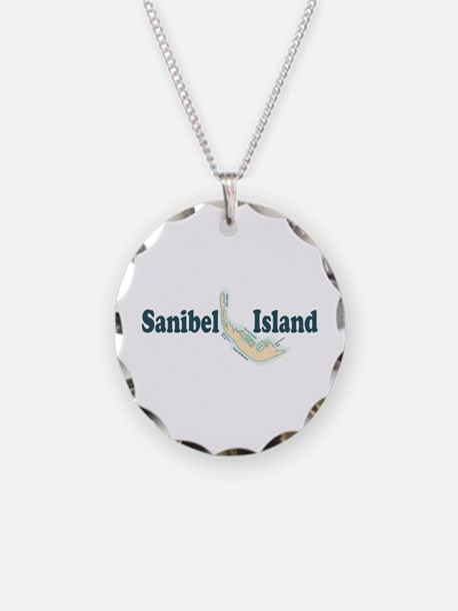 Sanibel Island Map Design Necklace