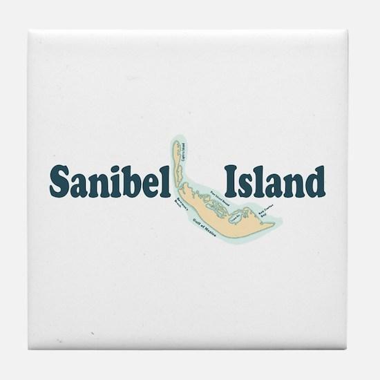 Sanibel Island - Map Design. Tile Coaster