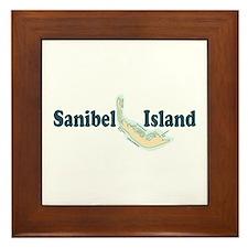 Sanibel Island - Map Design. Framed Tile