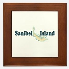 Sanibel Island - Map Design. Framed Tile