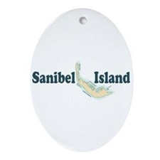 Sanibel Island - Map Design. Ornament (Oval)
