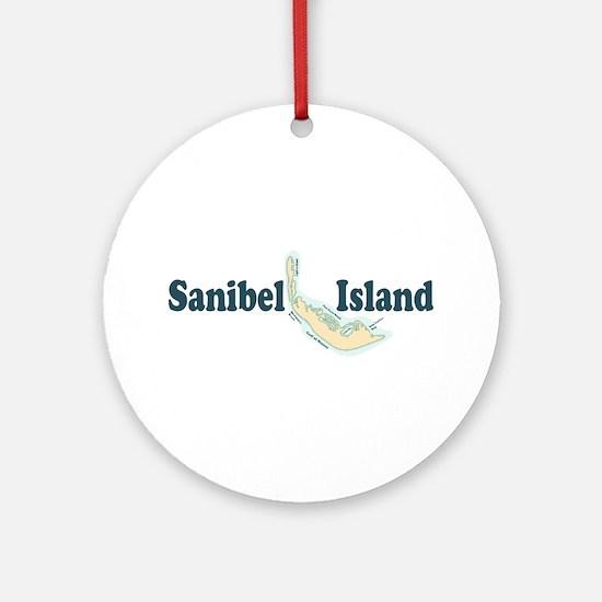 Sanibel Island - Map Design. Ornament (Round)