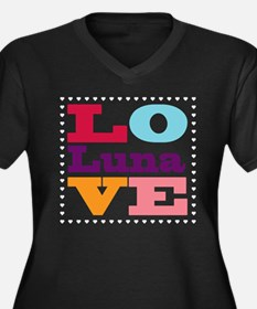 I Love Luna Women's Plus Size V-Neck Dark T-Shirt