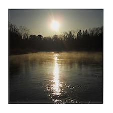 Mississippi River Sunrise Tile Coaster