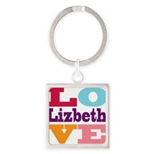 I Love Lizbeth Square Keychain