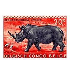 Vintage 1959 Belgian Congo Rhinoceros Stamp Postca