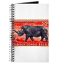 Vintage 1959 Belgian Congo Rhinoceros Stamp Journa