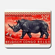 Vintage 1959 Belgian Congo Rhinoceros Stamp Mousep