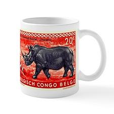 Vintage 1959 Belgian Congo Rhinoceros Stamp Mug