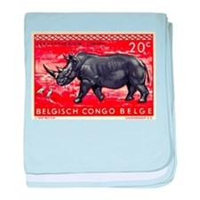 Vintage 1959 Belgian Congo Rhinoceros Stamp baby b