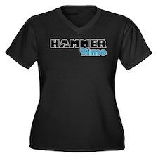 Hammer Time Women's Plus Size V-Neck Dark T-Shirt