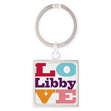 I Love Libby Square Keychain