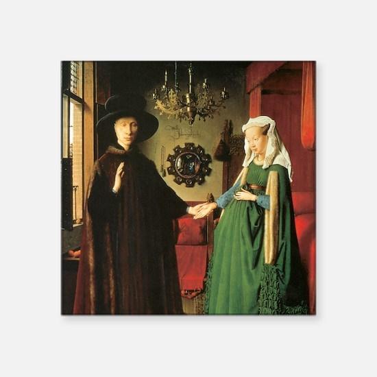 "Jan van Eyck Marriage Square Sticker 3"" x 3"""
