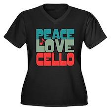 Peace Love Cello Women's Plus Size V-Neck Dark T-S