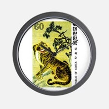 Vintage 1980 Korea Tiger and Magpie Stamp Wall Clo