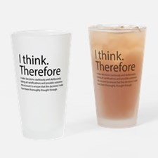 I think therefore I am thinking Drinking Glass
