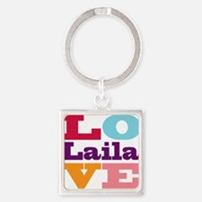I Love Laila Square Keychain