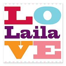 """I Love Laila Square Car Magnet 3"""" x 3"""""""