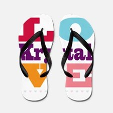 I Love Krystal Flip Flops