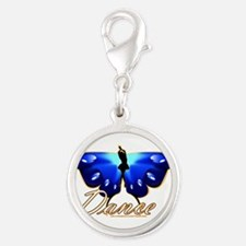 Butterfly Dance Silver Round Charm