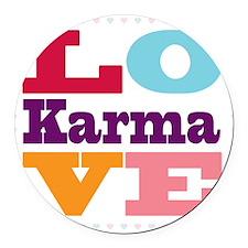 I Love Karma Round Car Magnet