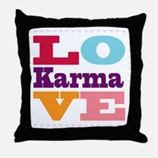 I Love Karma Throw Pillow