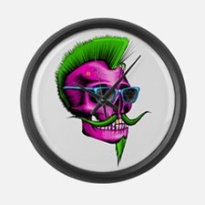 Neon Hipster Skull Pink Large Wall Clock