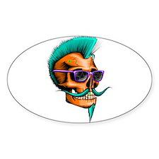Neon Hipster Skull Orange Bumper Stickers