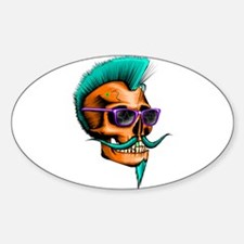 Neon Hipster Skull Orange Bumper Stickers