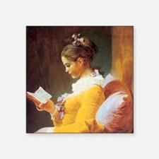 "Jean-Honore Fragonard The Reader Square Sticker 3"""