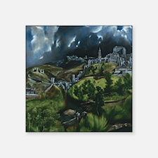 """El Greco View of Toledo Square Sticker 3"""" x 3"""""""