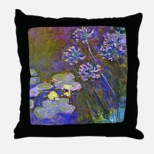 Claude Monet Lilies and Agapanthus Throw Pillow