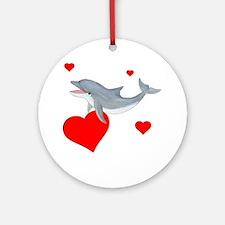 Valentine Dolphin Ornament (Round)