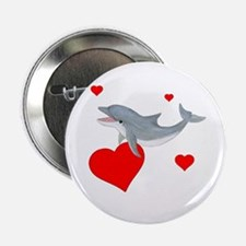 """Valentine Dolphin 2.25"""" Button"""