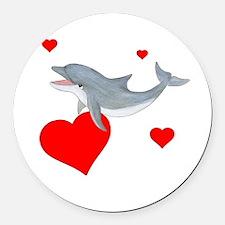Valentine Dolphin Round Car Magnet