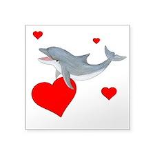 "Valentine Dolphin Square Sticker 3"" x 3"""