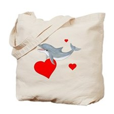 Valentine Dolphin Tote Bag