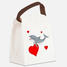 Valentine Dolphin Canvas Lunch Bag