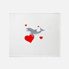 Valentine Dolphin Throw Blanket