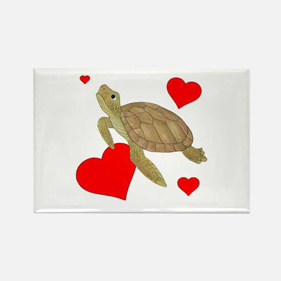 Valentine Turtle Rectangle Magnet