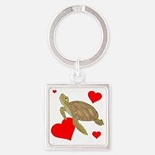 Valentine Turtle Square Keychain