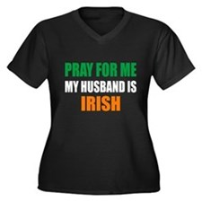 Pray Husband Women's Plus Size V-Neck Dark T-Shirt