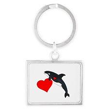 Valentine Whale Landscape Keychain