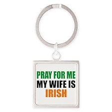 Pray Wife Irish Square Keychain