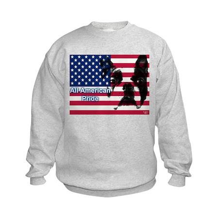 All American Pride, Boston Terrier Kids Sweatshirt