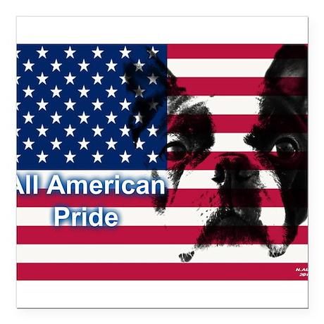 All American Pride, Boston Terrier Square Car Magn