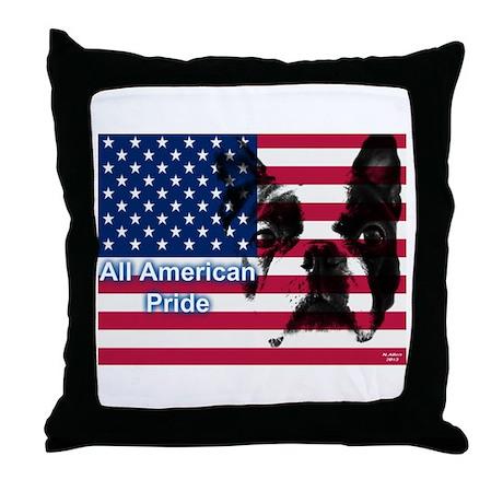 All American Pride, Boston Terrier Throw Pillow